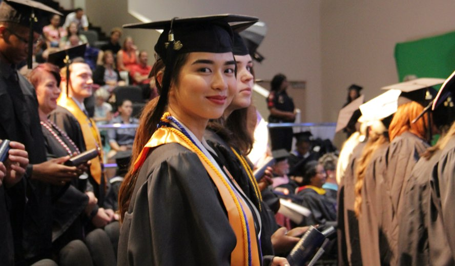 Female student at graduation