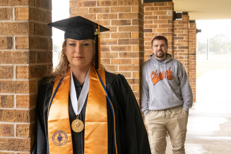 Mother and son, Ginger and Roger Pace, jumpstart their higher educational pursuits at College of the Mainland.